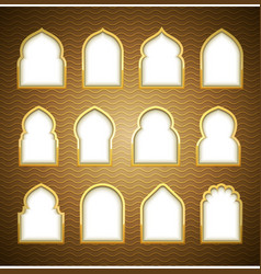 Gold design arab window ramadan kareem vector