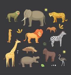 african animals cartoon set elephant vector image vector image
