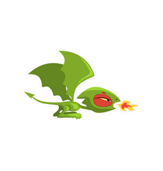 Angry little dragon breathing fire green fairy vector