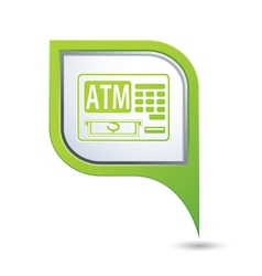 Atm icon on green map pointer vector