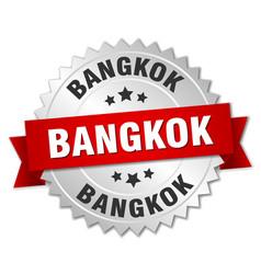 Bangkok round silver badge with red ribbon vector