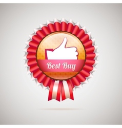 Best buy label with ribbons vector