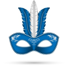 Blue mask with feathers vector
