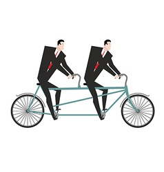 Businessman cycling business team goes on bike vector