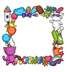 Carnival party kawaii frame cute cats vector