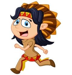Cartoon men indian tribe vector
