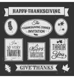 Chalkboard style design elements for Thanksgiving vector image vector image