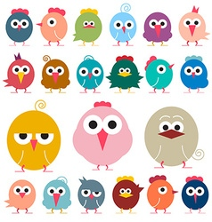 Chicken - Flat Design Funky Chicks Isolated vector image vector image