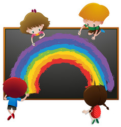 children drawing rainbow on board vector image