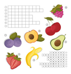 Crossword for learning english find the fruits vector