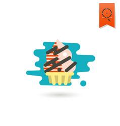cupcake modern flat icon vector image vector image