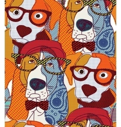 Dog seamless pattern patchwork vector image vector image