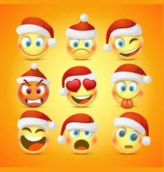 emoji and sad new year hat icon set vector image vector image
