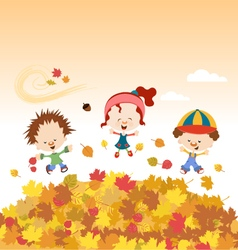 Fall kids vector