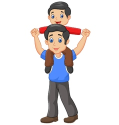 Father giving his son piggyback ride isolated vector