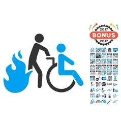 Fire patient evacuation icon with 2017 year bonus vector