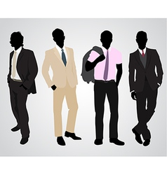 four businessman silhouettes vector image