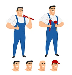 Funny plumber mascot in different poses vector image vector image