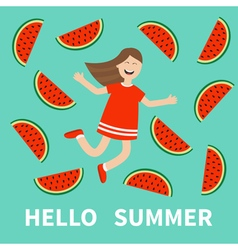 Girl jumping Hello summer greeting card Happy vector image vector image