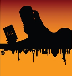 girl on famous monument silhouette vector image