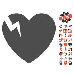 heart crack icon with dating bonus vector image vector image