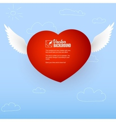 Heart with wings for the good and love messages vector image vector image
