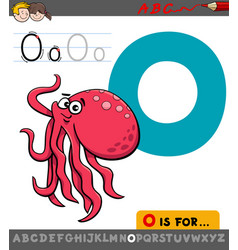 letter o with cartoon octopus animal vector image vector image