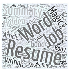 Magic words in your Resume Word Cloud Concept vector image