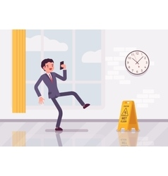 Man with a smartphone slipps on the wet floor vector