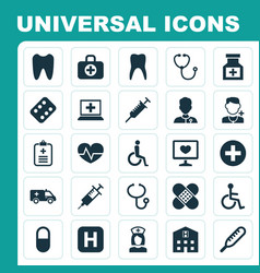 Medicine icons set collection of hospital vector