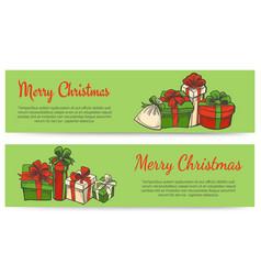 merry christmas horizontal banners vector image