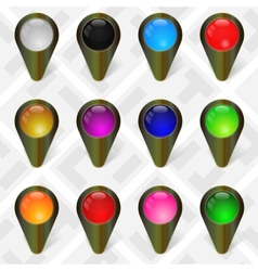 Military Map Markers GPS Pointers Set 4 vector image vector image