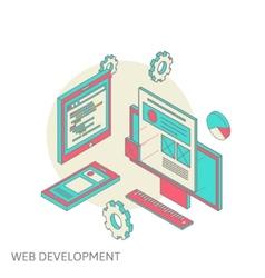 Mobile and desktop website design development vector