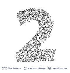 Number symbol of white leaves vector
