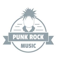 Punk rock music logo simple gray style vector