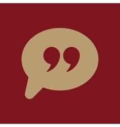 Quotation mark speech bubble symbol vector