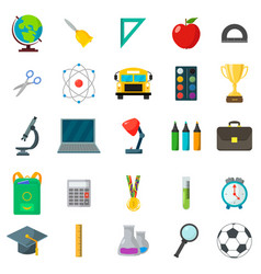 set of school icons cartoon and flat style white vector image