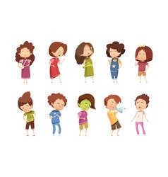 Sickness Child Retro Cartoon Icon Set vector image vector image
