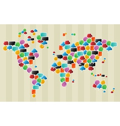 Social media bubbles globe world map vector image vector image