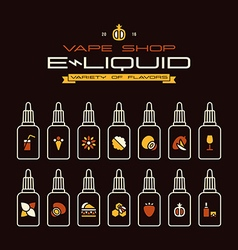 Vape shop e liquid flavors icons vector