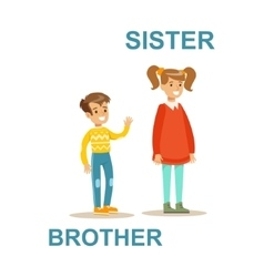 Younger brother and older sister happy family vector