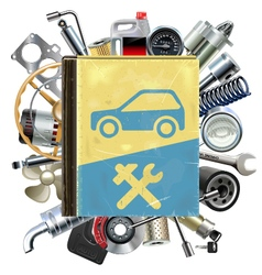 Old Car Repair Book with Car Spares vector image