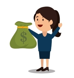 Woman cartoon bag money earnings design isolated vector