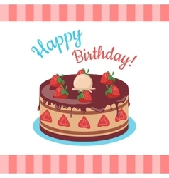Happy birthday cake with strawberries isolated vector