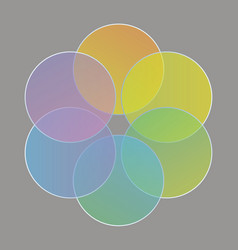 Abstract circles gathered in a rainbow of colors vector