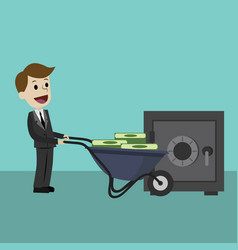 Businessman or manager brings money using wheel vector