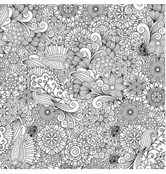 detailed line ornamental background with flowers vector image
