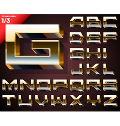 Set of golden 3d alphabet vector