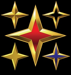 Four-point golden star vector
