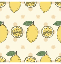 Seamless fruit pattern of lemons vector